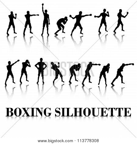 Boxing Silhouette Fighting pose and punch
