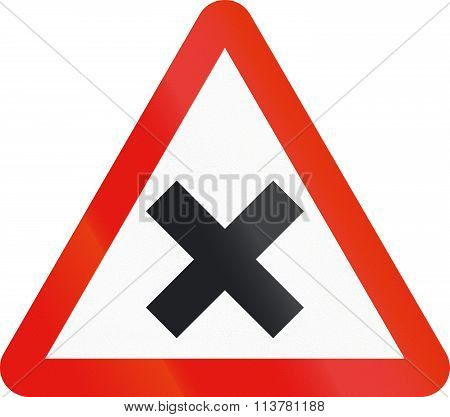 Road Sign Used In Spain - Intersection