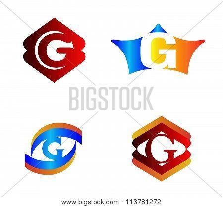 Letter G set Alphabetical Logo Design Concepts