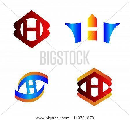 Letter H set Alphabetical Logo Design Concepts