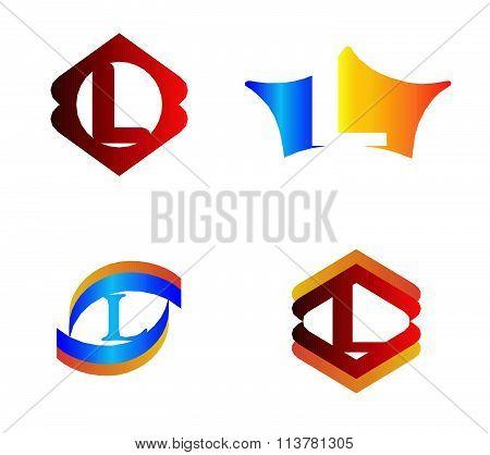 Letter L set Alphabetical Logo Design Concepts