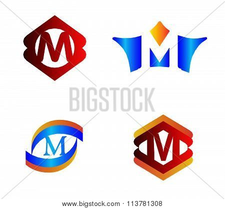 Letter M set Alphabetical Logo Design Concepts