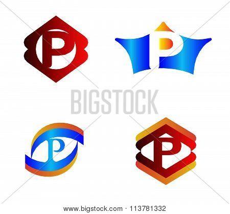 Letter P set Alphabetical Logo Design Concepts
