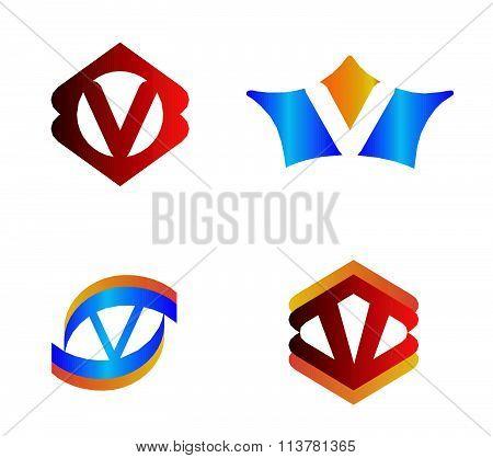 Letter v set Alphabetical Logo Design Concepts