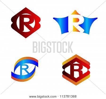 Letter R set Alphabetical Logo Design Concepts