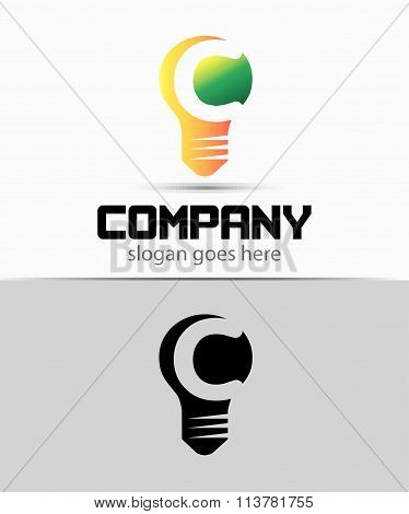 Fresh idea art design concept C logo vector design template. Creative thinking art