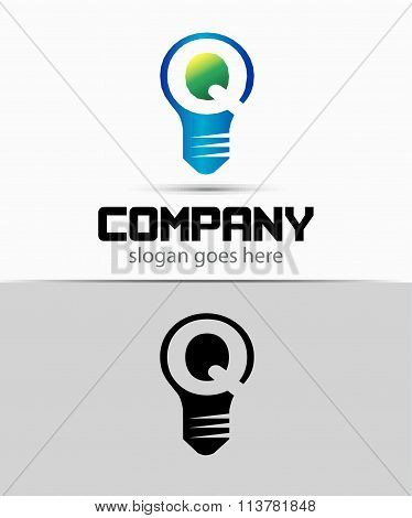 Shutter light bulb abstract Q logo template