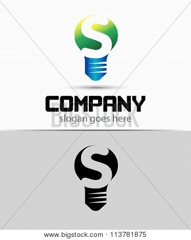 Shutter light bulb abstract S logo template