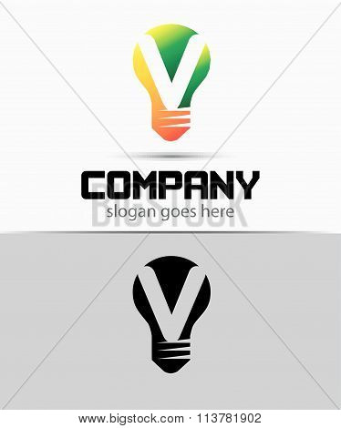 Shutter light bulb abstract V logo template