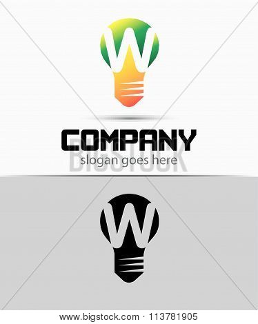 Shutter light bulb abstract W logo template