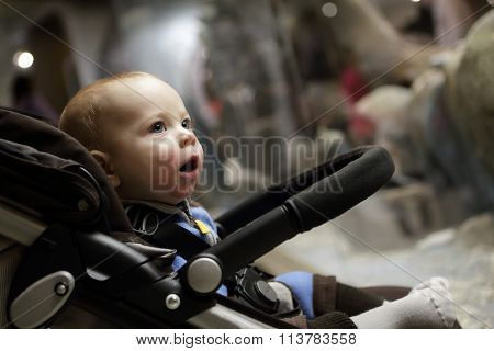 Surprised Baby On A Stroller