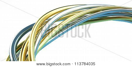 Gold And Silver Wire 3D Illustrations On A White Background