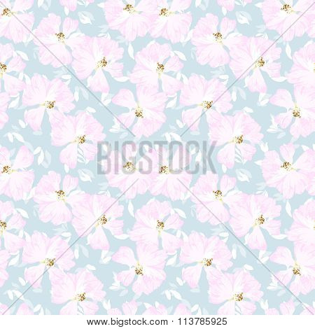 Pattern With Flowers Of Rose Hips