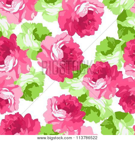 Seamless Floral Patter With Pink Roses.