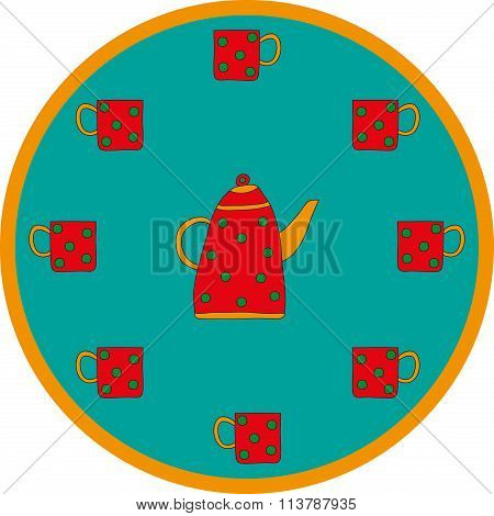 Dotted teapot and cups on blue background
