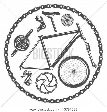 bicycle parts isolated on white background