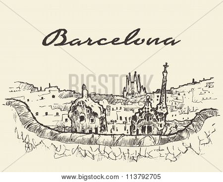 Barcelona Spain illustration drawn sketch
