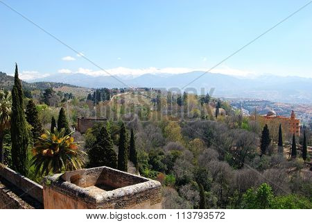 Castle walls and mountain view, Granada.