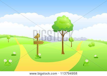 Meadow summer landscape day road waymark illustration vector