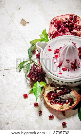 Juicer With Bits Of Pomegranates And Leaves.