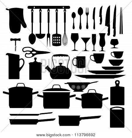 Kitchen tool icons. Kitchen tool icons set. Kitchen tool icons black. Kitchen tool silhouettes. Kitchen tool icons collection. Kitchen tool silhouettes set. Kitchen tool silhouettes vector