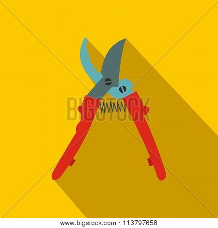 Secateurs plane icon with shadow