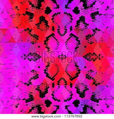 Snake skin texture  with colored rhombus. Geometric background. Seamless pattern black lilac pink re