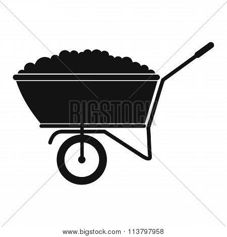 A wheelbarrow full of turf black simple icon