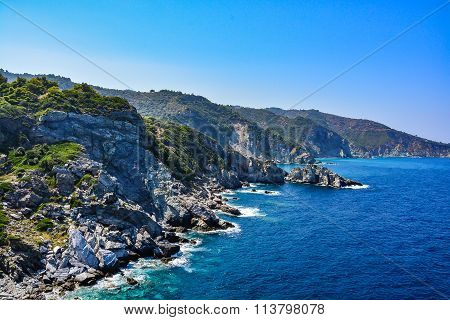 Beautiful coast of Skopelos island, Sporades, Greece