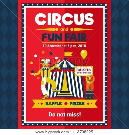 Circus Fun Fair Carnival Poster Red