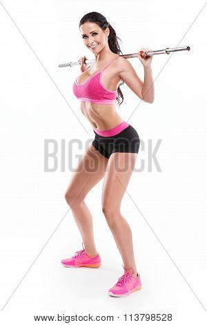 Nice Sexy Woman Doing Squat Workout With Big Dumbbell, Retouched