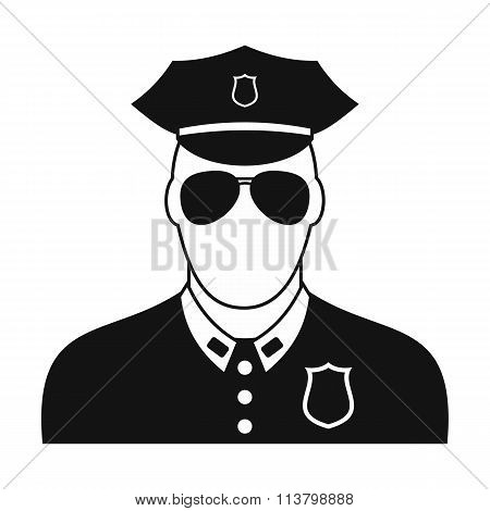 Policeman black plain icon