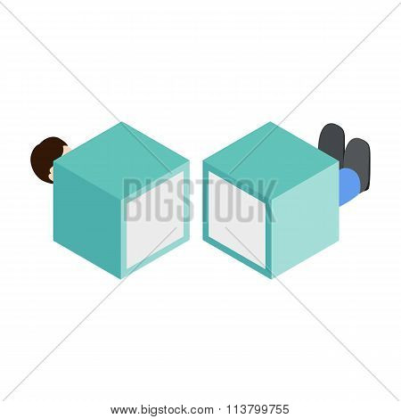Magician sawing box isometric 3d icon