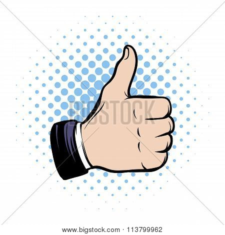 Hand doing a thumb up comics icon