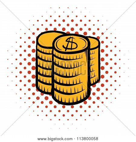 Stack of coins comics icon