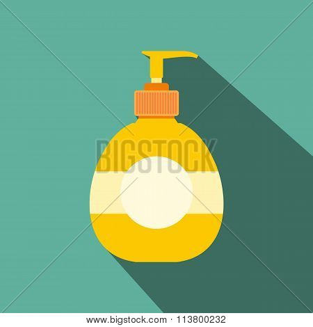 Yellow plastic bottle with liquid soap flat