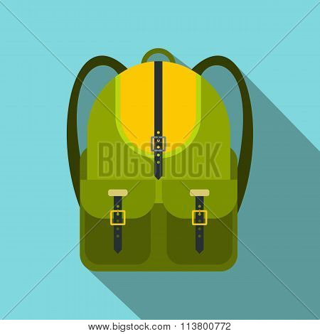 Green touristic backpack flat icon