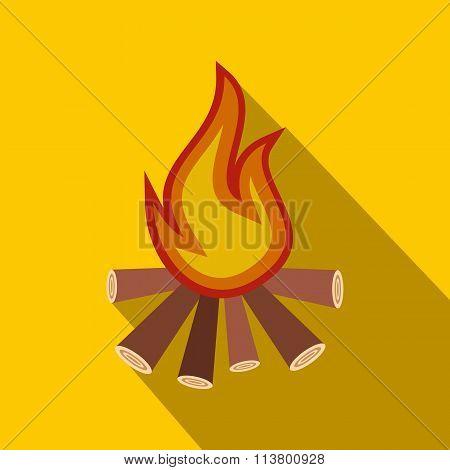 Burning bonfire flat icon
