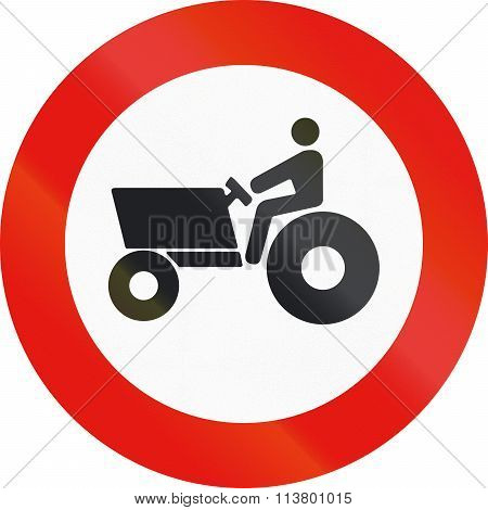 Road Sign Used In Spain - Forbidden Entry To Agricultural Motorized Vehicles
