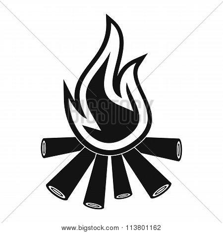 Burning bonfire black simple icon