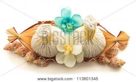 Pouches, Decorative Flowers Orchid, Shells, A Basket