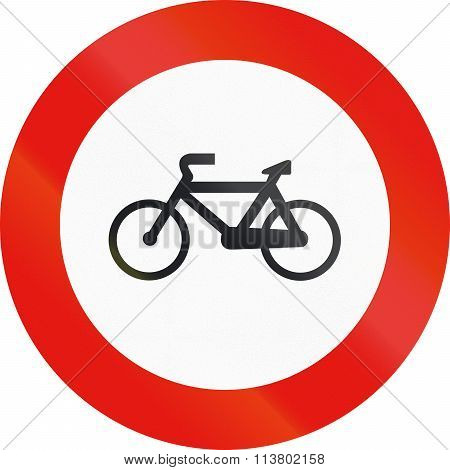 Road Sign Used In Spain - Forbidden Entry To Cycles