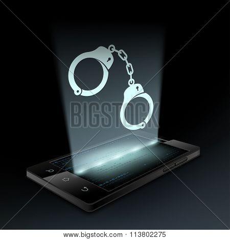 Icon Handcuffs. Hologram.