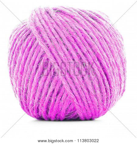 Pink Traditional Clew, Knitting Thread Ball Isolated On White Background