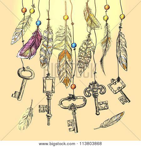 illustration vintage key