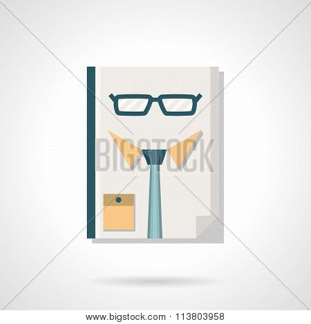 HR manager abstract flat color vector icon