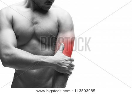 Pain In The Elbow. Muscular Male Body. Isolated On White Background With Copy Space