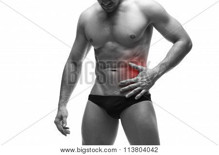 Pain In The Left Side Of The Muscular Male Body. Isolated On White Background