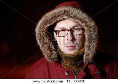 Suspicious Man With Glasses