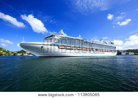 ST. LUCIA, CARIBBEAN -  JANUARY 9: Princess Cruise Ship, Emerald Princess, in Castries Harbour, capi